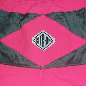1989 BITCHIN Pink Surf Nylon Shorts 80s Skate